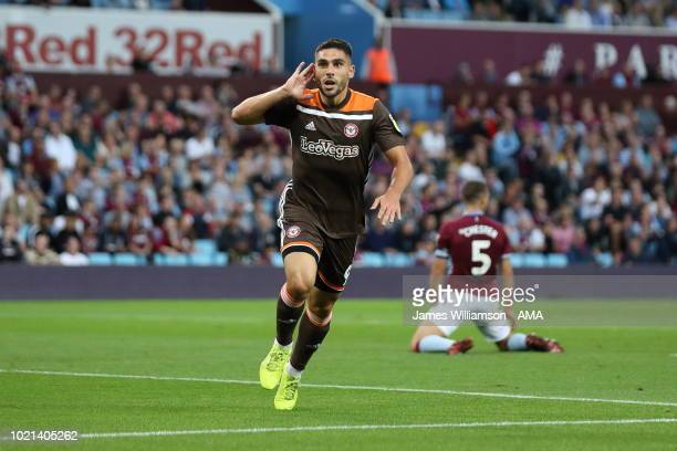 Neal Maupay of Brentford celebrates after scoring a goal to make it 1-0 during the Sky Bet Championship match between Aston Villa and Brentford at...