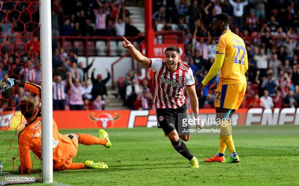 Neal Maupay of Brentford celebrates scoring the 2nd brentford during the Sky Bet Championship match between Brentford and Wigan on September 15 2018...