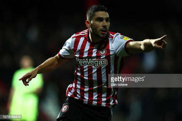 Neal Maupay of Brentford celebrates scoring the opening goal during the Sky Bet Championship match between Brentford and Sheffield United at Griffin...