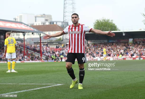 Neal Maupay of Brentford celebrates the opening goal in front of the Leeds supporters during the Sky Bet Championship match between Brentford FC and...