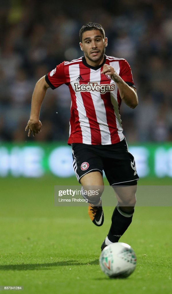 Neal Maupay of Brentford during the Carabao Cup Second Round match between Queens Park Rangers and Brentford at Loftus Road on August 22, 2017 in London, England.