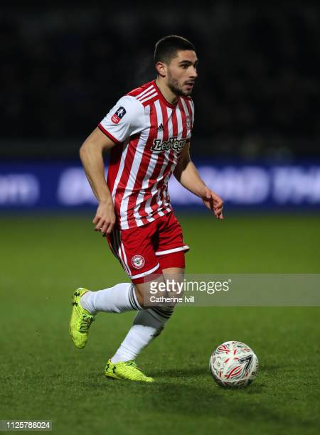 Neal Maupay of Brentford during the FA Cup Fourth Round match between Barnet and Brentford at The Hive on January 28 2019 in Barnet United Kingdom