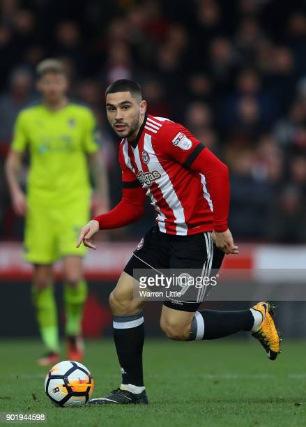 Neal Maupay of Brentford in action during the The Emirates FA Cup Third Round match between Brentford and Notts Country at Griffin Park on January 6...
