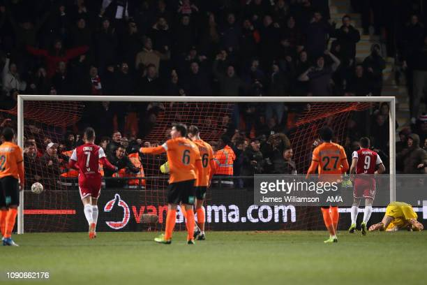 Neal Maupay of Brentford scores a goal to make it 22 during the FA Cup Fourth Round match between Barnet and Brentford at The Hive on January 28 2019...