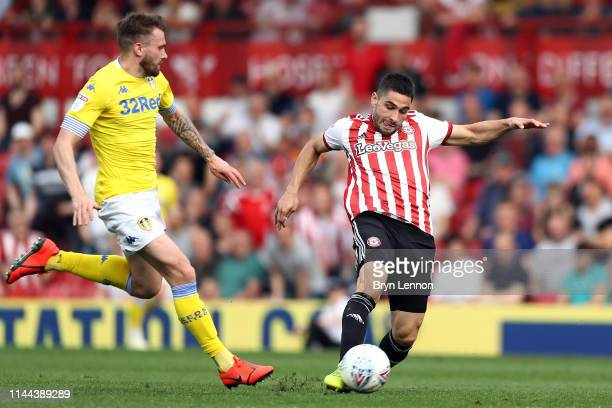 Neal Maupay of Brentford scores the opening goal during the Sky Bet Championship match between Brentford and Leeds United at Griffin Park on April...