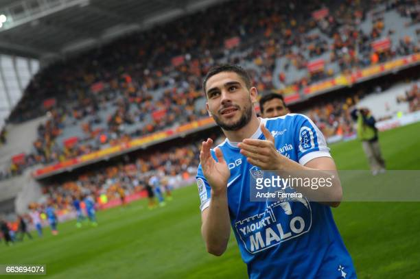 Neal Maupay of Brest celebrates during the French Ligue 2 match between Lens and Brest at Stade Felix Bollaert on April 1 2017 in Lens France