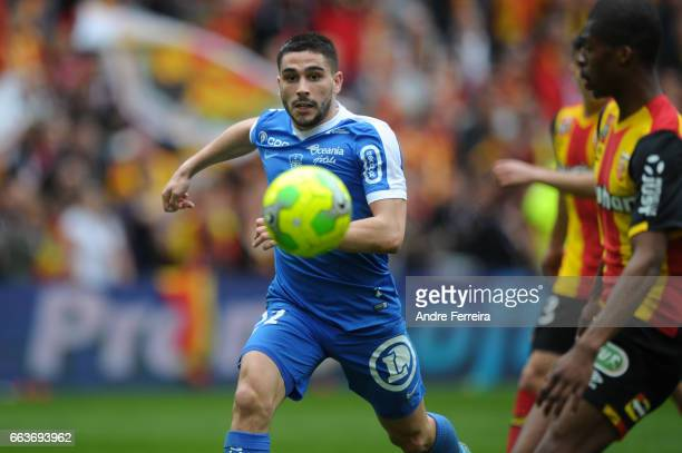 Neal Maupay of Brest during the French Ligue 2 match between Lens and Brest at Stade Felix Bollaert on April 1 2017 in Lens France