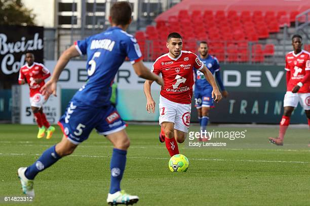 Neal Maupay of Brest during the Ligue 2 match between Stade Brestois 29 and RC Strasbourg Alsace on October 15 2016 in Brest France