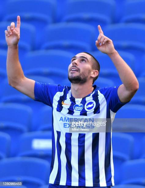 Neal Maupay of Brighton and Hove Albion celebrates after scoring his team's second goal during the Premier League match between Brighton Hove Albion...