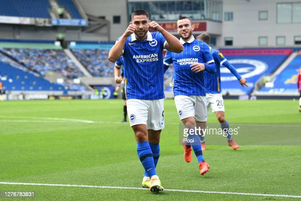 Neal Maupay of Brighton and Hove Albion celebrates after scoring his team's first goal during the Premier League match between Brighton & Hove Albion...