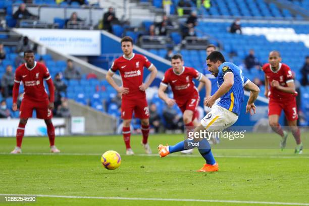 Neal Maupay of Brighton and Hove Albion misses a penalty during the Premier League match between Brighton & Hove Albion and Liverpool at American...