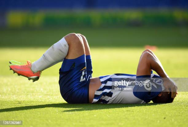 Neal Maupay of Brighton and Hove Albion reacts during the Premier League match between Brighton Hove Albion and Newcastle United at American Express...