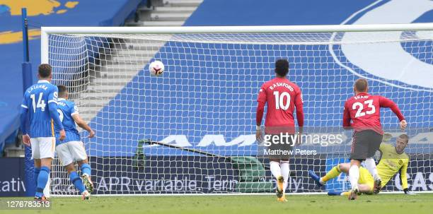 Neal Maupay of Brighton and Hove Albion scores their first goal during the Premier League match between Brighton Hove Albion and Manchester United at...
