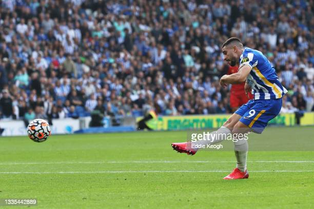 Neal Maupay of Brighton and Hove Albion scores their side's second goal during the Premier League match between Brighton & Hove Albion and Watford at...