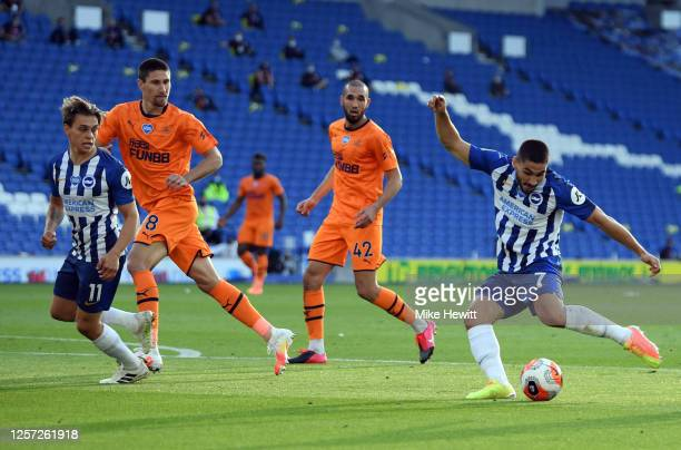 Neal Maupay of Brighton and Hove Albion shoots during the Premier League match between Brighton Hove Albion and Newcastle United at American Express...