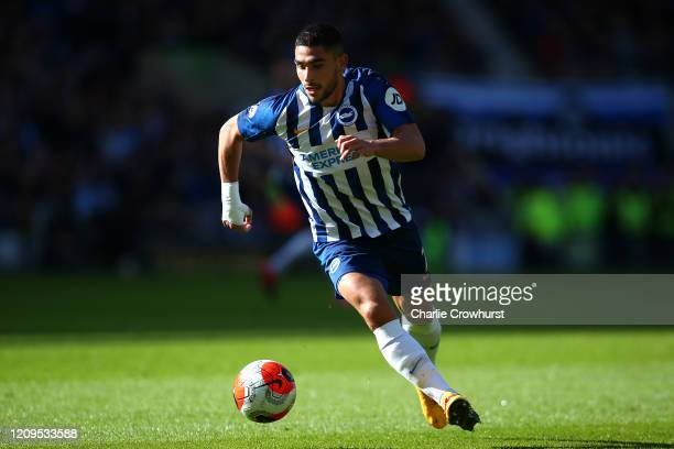 Neal Maupay of Brighton attacks during the Premier League match between Brighton Hove Albion and Crystal Palace at American Express Community Stadium...