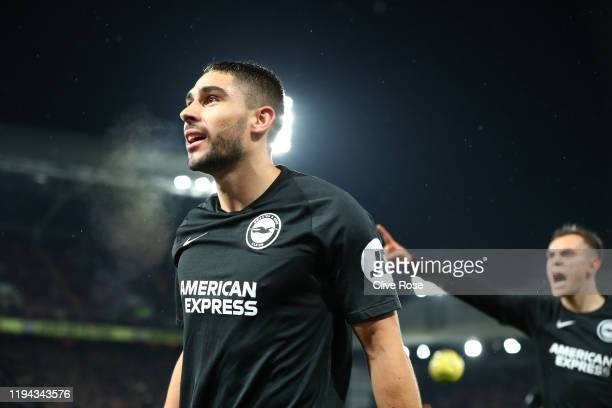 Neal Maupay of Brighton celebrates after scoring his sides first goal during the Premier League match between Crystal Palace and Brighton Hove Albion...