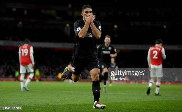 Neal Maupay of Brighton celebrates after scoring his teams second goal during the Premier League match between Arsenal FC and Brighton Hove Albion at...