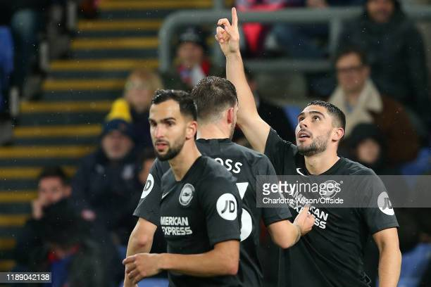 Neal Maupay of Brighton celebrates scoring the opening goal during the Premier League match between Crystal Palace and Brighton Hove Albion at...