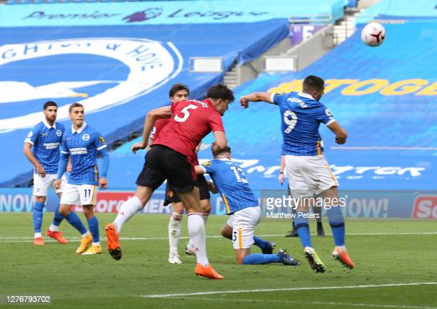 Neal Maupay of Brighton handles the ball to give Manchester United a penalty during the Premier League match between Brighton & Hove Albion and...