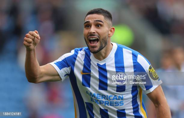 Neal Maupay of Brighton & Hove Albion celebrates after scoring their first goal during the Premier League match between Burnley and Brighton & Hove...