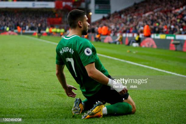 Neal Maupay of Brighton Hove Albion celebrates scoring a goal to make it 11 during the Premier League match between Sheffield United and Brighton...