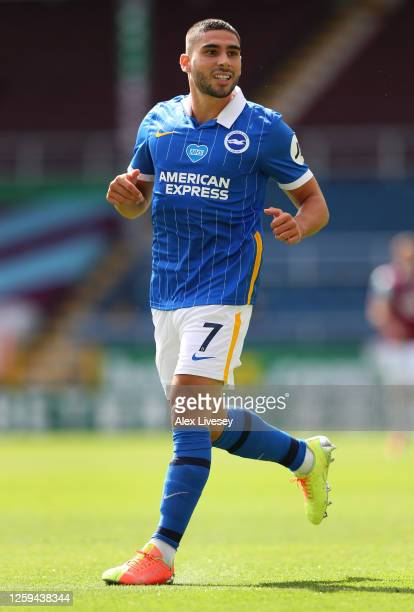 Neal Maupay of Brighton Hove Albion during the Premier League match between Burnley FC and Brighton Hove Albion at Turf Moor on July 26 2020 in...