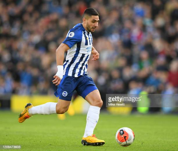 Neal Maupay of Brighton Hove Albion in action during the Premier League match between Brighton Hove Albion and Crystal Palace at American Express...