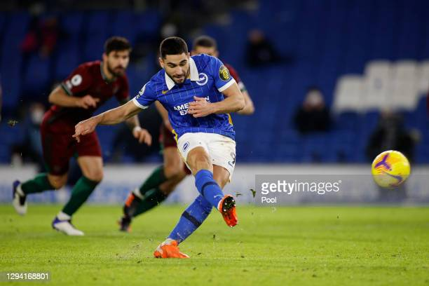 Neal Maupay of Brighton & Hove Albion scores their team's second goal from the penalty spot during the Premier League match between Brighton & Hove...