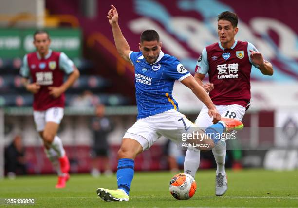 Neal Maupay of Brighton Hove Albion shoots during the Premier League match between Burnley FC and Brighton Hove Albion at Turf Moor on July 26 2020...