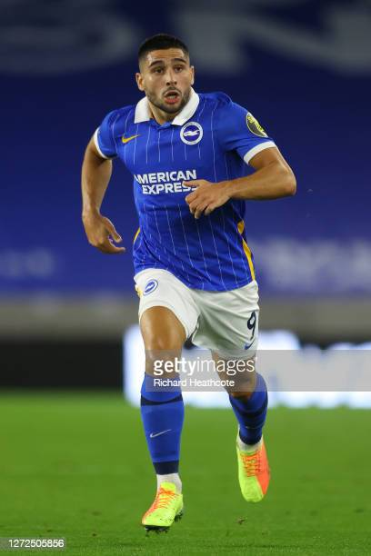 Neal Maupay of Brighton in action during the Premier League match between Brighton Hove Albion and Chelsea at American Express Community Stadium on...