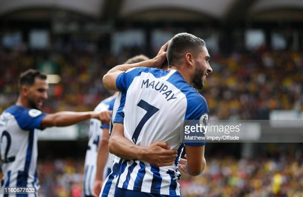 Neal Maupay of Brighton joins in the celebrations of the 2nd goal during the Premier League match between Watford FC and Brighton & Hove Albion at...