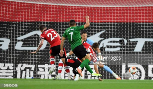Neal Maupay of Brighton scores his sides first goal during the Premier League match between Southampton FC and Brighton & Hove Albion at St Mary's...
