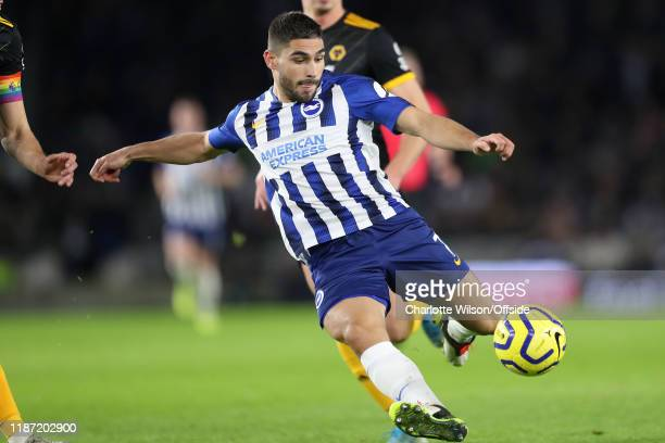 Neal Maupay of Brighton scores their 1st goal during the Premier League match between Brighton Hove Albion and Wolverhampton Wanderers at American...
