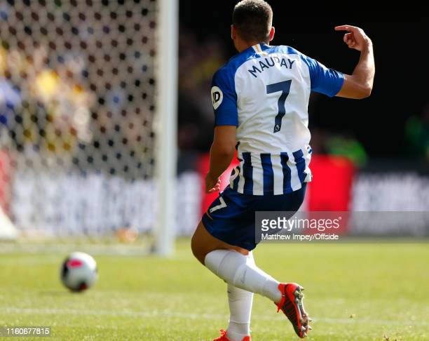 Neal Maupay scores the 3rd Brighton goal during the Premier League match between Watford FC and Brighton Hove Albion at Vicarage Road on August 10...