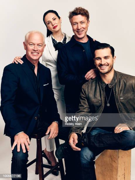Neal McDonough Laura Mennell Aiden Gillen and Michael Malarkey of HISTORY's 'Project Blue Book' pose for a portrait during the 2018 Summer Television...