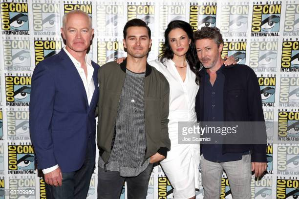 Neal McDonough Michael Malarkey Laura Mennell and Aidan Gillen attend HISTORY's Project Blue Book SDCC Panel 2019 at Hilton San Diego Bayfront Hotel...
