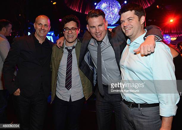 Neal Moritz Phil Lord Channing Tatum and Christopher Miller attend '22 Jump Street' New York Screening after party at Lavo on June 4 2014 in New York...