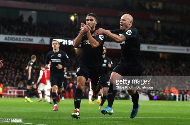 Neal Muupay of Brighton and Hove Albion celebrates scoring his teams second goal during the Premier League match between Arsenal FC and Brighton &...