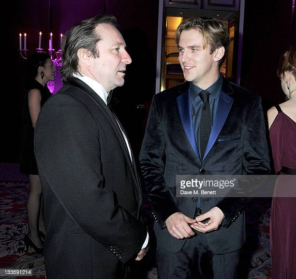 Neal Pearson and Dan Stevens attend a drinks reception during the 57th Evening Standard Theatre Awards at The Savoy Hotel on November 20 2011 in...