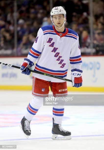Neal Pionk of the New York Rangers looks on in the first period against the New York Islanders during their game at Barclays Center on February 15...