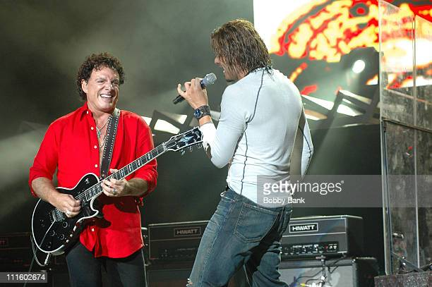 Neal Schon and Jeff Scott Soto of Journey during Journey in Concert at The PNC Arts Center in New Jersey September 15 2006 at PNC Arts Center in...