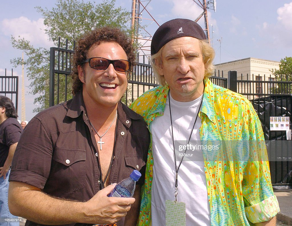 Neal Schon and Joe Walsh during Crossroads Guitar Festival - Day Three - Backstage at Cotton Bowl Stadium in Dallas, Texas, United States.