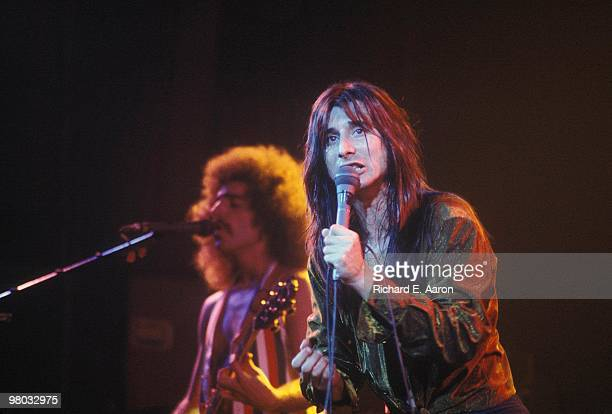 Neal Schon and Steve Perry of Journey perform on stage in New York in 1979