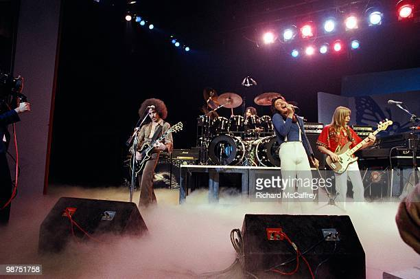 Neal Schon Aynsley Dunbar Steve Perry and Ross Valory of Journey perform live in 1978 in San Francisco California