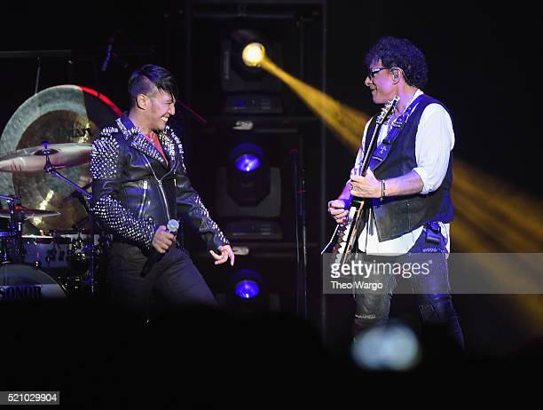 Neal Schon of Journey performs at Madison Square Garden on April 13 2016 in New York City