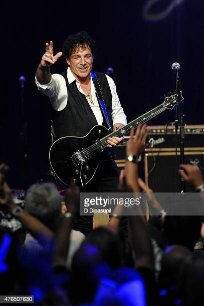 Neal Schon performs onstage during Les Paul's 100th Anniversary Celebration at the Hard Rock Cafe Times Square on June 9 2015 in New York City