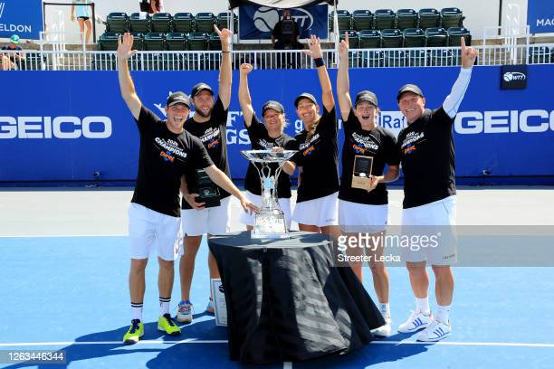Neal Skupski, Jack Sock, Kim Clijsters, Nicole Melichar, Coco Vandeweghe and Coach Luke Jensen of the New York Empire celebrate with the trophy after...