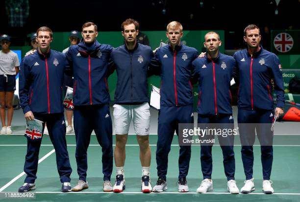 Neal Skupski, Jamie Murray, Andy Murray, Kyle Edmund, Daniel Evans and Leon Smith of Great Britain line up ahead of their Davis Cup Group match...