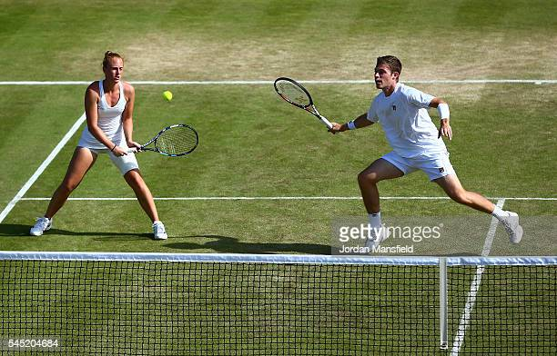Neal Skupski of Great Britain and Anna Smith of Great Britain in action during the Men's Doubles third round match against Aisam Qureshi of Pakistan...